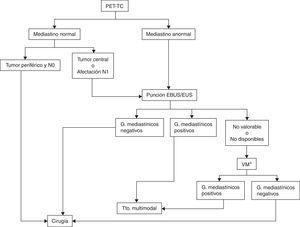 Algoritmo de estadificación ganglionar del mediastino. EBUS/EUS no valorable: se considera que una muestra de EBUS no es valorable cuando no hay linfocitos y únicamente contiene células sanguíneas, bronquiales o fibrosis sin poderse confirmar que se trata de una punción ganglionar. En el caso de aparecer células tumorales sin linfocitos se considera muestra adecuada. Aunque no se pueda demostrar su origen ganglionar por anatomía patológica, se presupone por la confirmación ecográfica de la punción. G: ganglios&#59; Tto.: tratamiento&#59; VM: videomediastinoscopia. * Aquí también se incluye la realización de otras técnicas quirúrgicas, como la mediastinoscopia cervical extendida, la mediastinotomía anterior o la videotoracoscopia cuando los ganglios sospechosos no son accesibles por videomediastinoscopia, como ocurre con las estaciones ganglionares 5 y 6 en los carcinomas del lóbulo superior izquierdo.