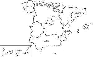 Distribución de casos según las comunidades autónomas.