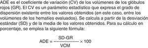 Fórmula de ancho de distribución eritrocitaria (ADE).