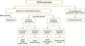 Tratamientos broncoscópicos y quirúrgicos intervencionistas para la EPOC. Descripción general de los diversos tratamientos utilizados para los pacientes con EPOC y enfisema en todo el mundo. Téngase en cuenta que no están aprobados todos los tratamientos para asistencia clínica en todos los países. Además, se desconocen los efectos de la RBVP en la supervivencia u otros criterios de valoración a largo plazo o la comparación con la CRVP. Definición de las abreviaturas: RBVP, reducción broncoscópica del volumen pulmonar, VEB, válvula endobronquial, CRVP cirugía de reducción del volumen pulmonar, RVPE, reducción del volumen pulmonar con espirales. * En algunos centros pero no en todos.