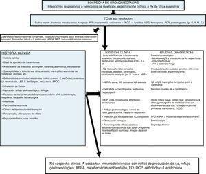 Algoritmo diagnóstico. ABPA: aspergilosis broncopulmunar alérgica; Ac: Anticuerpos; BQ: bronquiectasias; DCP: discinesia ciliar primaria; DLCO: difusión pulmonar de monóxido de carbono; E: enfermedad; EPOC: enfermedad pulmonar obstructiva crónica; FEV1: volumen espiratorio máximo en el primer segundo; FQ: fibrosis quística; ID: inmunodeficiencias; IGRA: interferon gamma release assay; Igs: inmunoglobulinas; LES: lupus eritematoso sistémico; PCR: proteína C reactiva; MNT: micobacterias no tuberculosas; PFR: pruebas funcionales respiratorias; PPD: prueba cutánea de derivado proteico purificado S: Staphylococcus; S: síndrome; Tc: Tecnecio; TC: tomografía computarizada; TEGD: tránsito esofagogastroduodenal; VIH: virus de la inmunodeficiencia humana; VSG: velocidad de sedimentación globular.