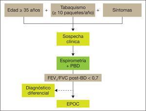 Esquema de diagnóstico de la EPOC. BD: broncodiiatación; FEV1: volumen espiratorio forzado en el primer segundo; FVC: capacidad vital forzada; PBD: prueba broncodilatadora.