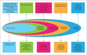 Componentes básicos de un modelo de atención integrada en la EPOC. Adaptada por C. Hernández de Spruit et al. Am J Respir Crit Care Med. 2013&#59;188:e13-64.