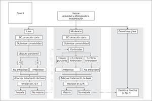 Tratamiento de la agudización según su etiología y gravedad. BD: broncodiiatadores.