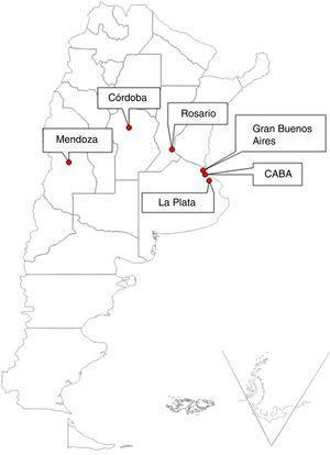 Ubicación geográfica de los aglomerados urbanos seleccionados para el estudio. La Plata (9,8m sobre el nivel del mar [msnm]), Rosario (22,5msnm), Ciudad Autónoma de Buenos Aires-CABA (16msnm), Gran Buenos Aires (Zona Norte, 16msnm), Córdoba (106msnm) y Mendoza (746msnm).