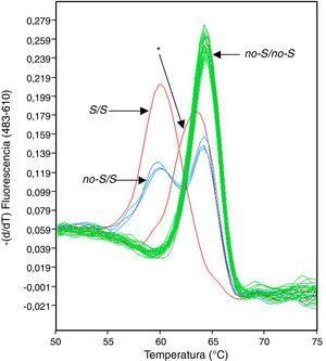 Análisis de fusión con sondas HybProbe diseñadas para detectar las variantes no-S y S en el gen SERPINA1. Se señalan con flechas los grupos genotípicos reconocidos por el software de análisis. El asterisco indica el pico de fusión anómalo.