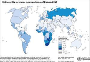 Estimated HIV prevalence in new and relapse TB cases, 2017. Source: Global tuberculosis report 2018, WHO (1).