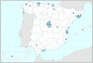 Distribución geográfica de los centros participantes en RIBRON.