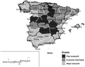 Distribución geográfica de los grupos de diferente evolución de la pandemia.