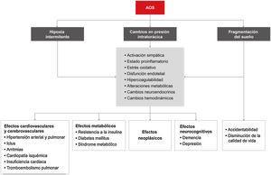 Consecuencias de la apnea obstructiva del sueño (AOS) y sus mecanismos fisiopatológicos. Modificada y reproducida con permiso del Manual SEPAR de Neumología y Cirugía Torácica.