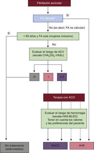 Eleccion del anticoagulante. Se deberia considerar terapia antiplaquetaria con AAS mas clopidogrel o, menos eficaz, AAS en monoterapia para pacientes que se niegan a tomar ningun tipo de ACO o que no toleren los anticoagulantes por razones no relacionadas con la hemorragia. Si hay contraindicaciones para ACO o la terapia antiplaquetaria, se podria considerar oclusion, cierre o escision de la orejuela izquierda. CHA2DS2-VASc: verde, 0; azul, 1; rojo, ≥ 2. Linea continua, mejor opcion; linea discontinua, opcion alternativa. AAS: acido acetilsalicilico; ACO: anticoagulante oral; ACV: accidente cerebrovascular; AVK: antagonista de la vitamina K; FA: fibrilacion auricular; NACO: nuevos anticoagulantes orales. *Incluye enfermedad valvular reumatica y protesis valvulares.