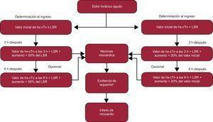 Recomendaciones del Study Group on Biomarkers in Cardiology of the European Society of Cardiology Working Group on Acute Cardiac Care para estudios de alta sensibilidad de troponina cardiaca. hs-cTn: troponina cardiaca de alta sensibilidad; LSR: límite superior de referencia (percentil 99 de referencia). *Evidencia de isquemia según los síntomas y nuevos cambios en el electrocardiograma o nueva confirmación mediante técnicas de imagen. Adaptado con permiso de Thygesen et al12.