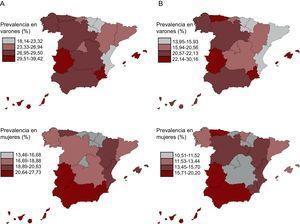 Prevalencia de síndrome metabólico (A) y síndrome metabólico premórbido (B) en población española de 18 y más años en 2008-2010, por comunidades autónomas. Las comunidades autónomas aparecen clasificadas en cuartiles de prevalencia. Análisis estandarizados por sexo y edad.