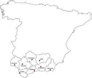 Andalucía y su división administrativa en ocho provincias.