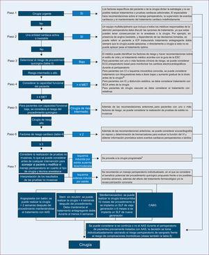 Resumen de la evaluación preoperatoria del riesgo cardiaco y el manejo perioperatorio. AAS: ácido acetilsalicílico; CABG: cirugía de revascularización coronaria; CI: cardiopatía isquémica; IC: insuficiencia cardiaca; ECG: electrocardiograma; IECA: inhibidores de la enzima de conversión de la angiotensina; MET: equivalentes metabólicos; SLF: stent liberador de fármacos; VI: ventrículo izquierdo. aSiempre que sea posible, se debe iniciar el tratamiento entre 30 días y un mínimo de 2 días antes de la cirugía y continuar en el posoperatorio con un objetivo de frecuencia cardiaca de 60-70 lpm y presión arterial sistólica > 100 mmHg. bPara la estrategia anestésica y la monitorización perioperatoria, consulte los apartados específicos.
