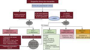 Tratamiento de la miocarditis según el contexto clínico y los resultados de la biopsia endomiocárdica. ADV: adenovirus; ARNm: ARN mensajero; ATG: antitimoglobulina; BEM: biopsia endomiocárdica; ciVHH-6: virus del herpes humano tipo6 integrado en cromosoma; CyA: ciclosporina; EC: enfermedad coronaria; EV: enterovirus; IC: insuficiencia cardiaca; IFNβ: interferón beta; MCD: miocardiopatía dilatada; MCG: miocarditis de células gigantes; Pred: prednisona; PVB19: parvovirus B19. aPara pacientes sintomáticos, considere emplear interferón beta u otras posibles opciones en estudio, como la telbivudina (véase el texto). bPara pacientes sintomáticos pese al tratamiento óptimo de la insuficiencia cardiaca, considere emplear ganciclovir o valganciclovir (véase el texto).