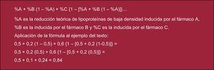 Fórmula para calcular el porcentaje de eficacia de las combinaciones de fármacos en la reducción de las lipoproteínas de baja densidad.