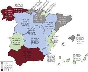 Mapa de la prevalencia de obesidad en población adulta (25-64 años) en España. Tasas ajustadas por edad. Entre paréntesis intervalo de confianza del 95%. OB: obesidad; SP: sobrepeso.