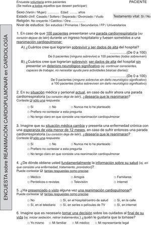 Cuestionario utilizado en la consulta de cardiología.