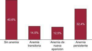 Prevalencia de las categorías de anemia. Un 59% de los pacientes tenían anemia y fue de carácter persistente en la mayoría de ellos.