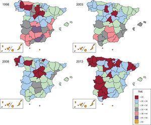 Tasa de mortalidad estandarizada por diabetes mellitus en España y distribución por provincias. Periodo 1998-2013. General. TME: tasa de mortalidad estandarizada.