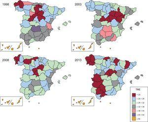 Tasa de mortalidad estandarizada por diabetes mellitus en España y distribución por provincias. Periodo 1998-2013. Varones. TME: tasa de mortalidad estandarizada.