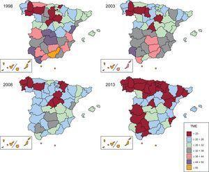 Tasa de mortalidad estandarizada por diabetes mellitus en España y distribución por provincias. Periodo 1998-2013. Mujeres. TME: tasa de mortalidad estandarizada.