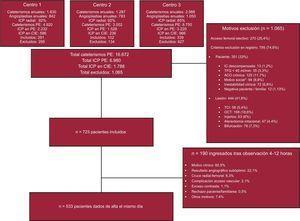 Diagrama de flujo del estudio. ACO: anticoagulación oral crónica; CIE: cardiopatía isquémica estable; IC: insuficiencia cardiaca; ICP: intervención coronaria percutánea; OCT: oclusión crónica total; PE: periodo de estudio; TCI: tronco común izquierdo; TFG: tasa de filtrado glomerular. *Ausencia de cuidador en domicilio, incapacidad para comprender el procedimiento o vivienda muy alejada de recursos sanitarios (>60min).