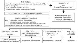 Algoritmo de monitorización del tratamiento con fármacos antitumorales14. 3D: tridimensional; DV-CTOX: disfunción ventricular secundaria a cardiotóxicos; ETT: ecocardiograma transtorácico; FEVI: fracción de eyección del ventrículo izquierdo; FRCV: factores de riesgo cardiovascular; NT-proBNP: fracción aminoterminal del propéptido natriurético cerebral; SLG:strain longitudinal global. aIdealmente, consulta específica de cardio-onco-hematología. bSe recomienda revaluar la FEVI antes de finalizar el tratamiento si se supera una dosis acumulada de 240mg/m2. En estos casos, debe monitorizarse la FEVI periódicamente hasta el final del tratamiento. cEn pacientes de bajo riesgo cardiovascular y sin antecedentes de tratamientos cardiotóxicos, la determinación de troponinas antes de cada ciclo reduce el número de ecocardiogramas y los limita a pacientes con síntomas o elevación de troponinas.