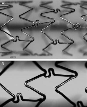 Estructura del stent farmacoactivo BD1, con diseño optimizado para permitir una liberación del fármaco más uniforme. Imagen de microscopia óptica (A) y alta definición (B) obtenida con el sistema QSix (Sensofar, Barcelona, España).