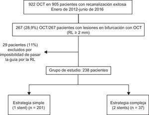 Diagrama de flujo del estudio. OCT: oclusión coronaria crónica total; RL: rama lateral.