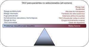 TAVI para pacientes no seleccionados. La figura muestra los problemas actualmente resueltos/casi resueltos y los retos futuros que será preciso resolver en el TAVI para que pase a ser el tratamiento de elección para la estenosis aórtica grave. TAVI: implante percutáneo de válvula aórtica.