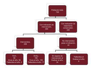 Diagrama de flujo de los pacientes incluidos en el registro Influencia del Diagnóstico de Estenosis Aórtica Severa (IDEAS). SVAo: sustitución valvular aórtica; TAVI: implante percutáneo de válvula aórtica.