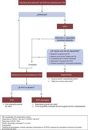 Algoritmo propuesto para el tratamiento de la disfunción del TSVD tras la reparación de la TDF. CPET: prueba de esfuerzo cardiopulmonar; CRM:cardiorresonancia magnética; EP:estenosis pulmonar; FEVD:fracción de eyección del ventrículo derecho; GUCH:cardiopatía congénita del adulto; IPVP:implante percutáneo de válvula pulmonar; IT:insuficiencia tricuspídea; PSVD:presión arterial sistólica del ventrículo derecho; RP:regurgitación pulmonar; SVP:sustitución de válvula pulmonar; TDF:tetralogía de Fallot; TSVD:tracto de salida del ventrículo derecho; VD:ventrículo derecho; VTDVDi:volumen telediastólico del ventrículo derecho indexado; VTSVDi:volumen telesistólico del ventrículo derecho indexado.