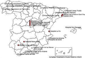 Distribución de los centros con actividad específica en cardiopatías congénitas del adulto en España. Marcados como círculos rellenos, los centros de referencia nacional (CSUR [centros, servicios y unidades de referencia]).