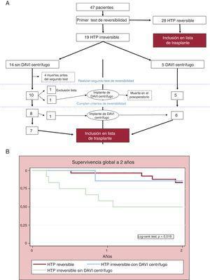 A: diagrama de flujo de la evolución de los pacientes hasta su inclusión en lista de trasplante. B: análisis de supervivencia total de Kaplan-Meier a los 2 años, según grupos. DAVI: dispositivos de asistencia ventricular izquierda; HTP: hipertensión pulmonar.