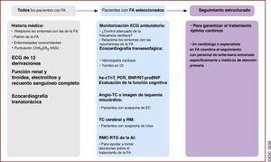 Proceso diagnóstico y seguimiento de los pacientes con FA. BNP:péptido natriurético cerebral; <span class=