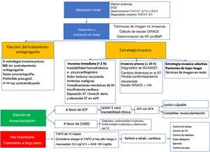 Novedades en el tratamiento integral del síndrome coronario agudo sin elevación del segmento ST. AAS: ácido acetisalicílico; BNP: péptido natriurético cerebral; CABG: cirugía de revascularización coronaria; FEVI: fracción de eyección del ventrículo izquierdo; ICP: intervención coronaria percutánea; IM: infarto de miocardio; NT-proBNP: fracción aminoterminal del propéptido natriurético cerebral; PA: presión arterial; SCASEST: síndrome coronario agudo sin elevación del segmento ST; SFA: stents farmacoativos; TAPD: tratamiento antiagregante plaquetario doble.