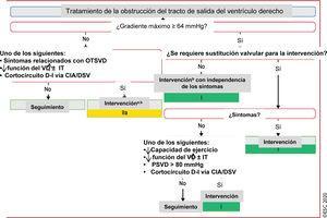 Tratamiento de la obstrucción del tracto de salida del ventrículo derecho. <span class=