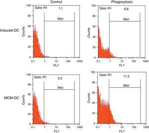 The representative flow cytometric histograms obtained from phagocytic analysis of MCM-DC and Induced-DC. Both types of DCs were incubated with FITC-conjugated latex beads for 48h also DCs without beads were used as a negative control then washed with quenching buffer and subjected to flow cytometric analysis.