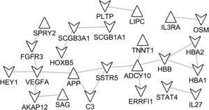 The protein–protein interaction (PPI) network of DEGs identified in notSA vs. NC. Upper triangular node stands for up-regulated DEGs, while lower triangular node stands for down-regulated DEGs.