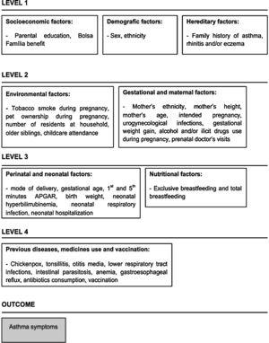 Hierarchical conceptual framework with variables potentially associated with asthma symptoms at 6–7 years.