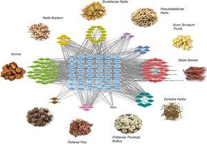 The ingredient-target network of CAD. The blue node represents the target, and diamond nodes with different colors represent active ingredients from different herbs of CAD.