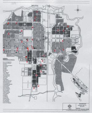 Muestreo urbano de materia fecal de caninos para el diagnóstico de echinococosis en La Quiaca, Jujuy. En rojo se indican los lugares en donde se tomaron las muestras. Octubre de 2006.