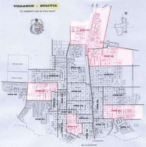 Manzanas muestreadas en el área urbana. Villazón: se indica en color rosado las Organizaciones Territoriales de Base (OTB) muestreadas. Octubre de 2006.