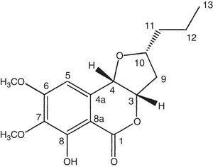Compound 1 isolated from the methanol extract of E. rostratum.