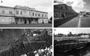 Actual photographs of La Plata Provincial Railway Station. Panel A: Front view of the central station building. Panel B: Back view of the central station building. Panel C: Aerial view of the location of the locomotive turntable (34°56′16″S and 57°56′13″W) and Panel D: locomotive turntable status.