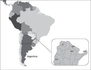 Geographical distribution of five Amerindian populations in Argentina. K: Kolla (Northwest; Puna Jujeña); MG: Mbya-guarani (Northeast); WF: Wichis from Formosa; WC: Wichis from Chaco (Chaco region); SH: Sagua-Huarpe (Central region).