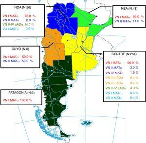 """Map of Argentina showing the frequency of genotypes and mating types by regions. The map was adapted from the """"Instituto Geográfico Nacional"""" web page (http://www.ign.gob.ar). NOA: Northwest; NEA: Northeast."""