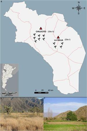 (a) Location of the sampling sites in the Province of La Rioja (Argentina) where birds were captured during spring 2013 and fall 2014. (b) Site I – La Rioja (29°26′22.55″S; 66°54′29.05″W; 620m.a.s.l.). (c) Site II – Chilecito (29°11′15.12″S; 67°28′45.06″W; 1028m.a.s.l.).